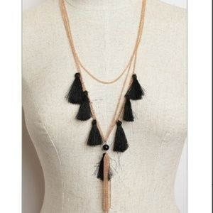 NWT Long Chain Tassel Gold Tone Statement Necklace